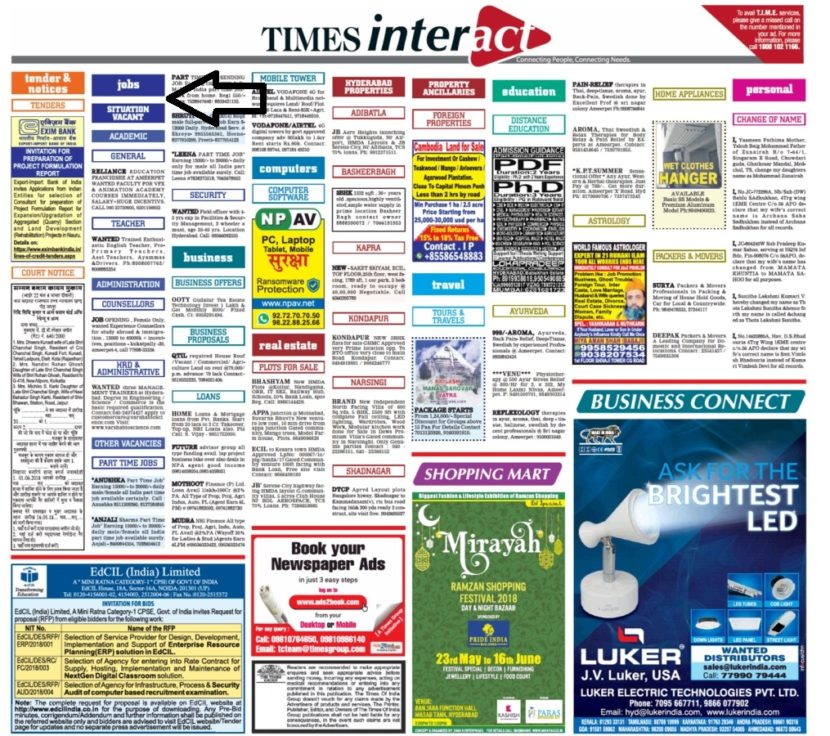 Times Of India Job Advertisement